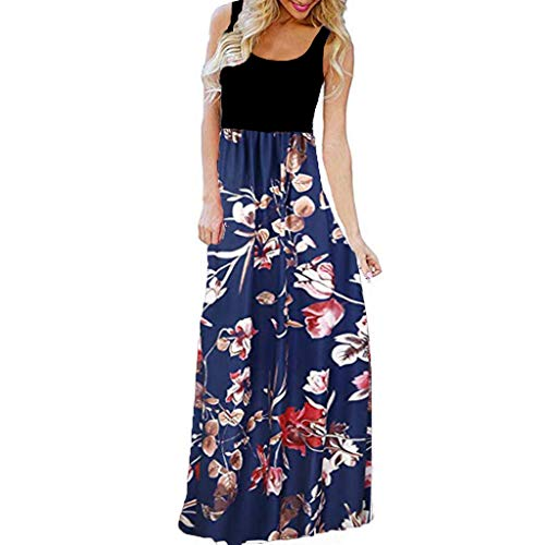 JJLOVER 2018 Women Sleeveless Floral Print Maxi Long Dress with Pockets O-Neck Beach