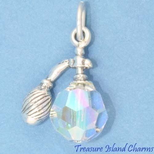 inyectar índice Detectable  Amazon.com: Perfume Bottle Atomizer w/Clear Swarovski Crystal 3D .925  Sterling Silver Charm Ideal Gifts, Pendant, Charms, DIY Crafting, Gift Set  from Heart by Wholesale Charms