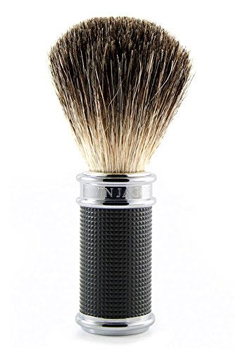Edwin Jagger Pure Badger Shaving Brush, Black & Chrome 3D Diamond by Edwin Jagger