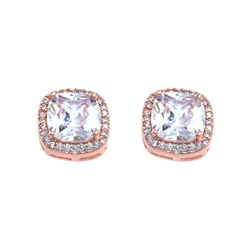 Square Princess Cut Stud Earrings Micro Paved AAA CZ Jewelry Wedding Bridal For Women (Rose Gold)