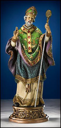 "9.75"" Gifts of Faith Milagros Patron Saints Statue St. Patrick Figure, Patron Saint of (patronage) against Snakes, Engineers, excluded people, fear of snakes, Texas, Pennsylvania, Ireland, Nigeria, Connecticut, California, & Snake bites."