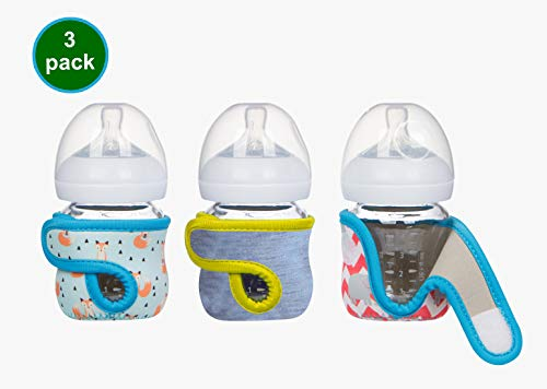 4oz (Set of 3 pcs) Miracle Bean Neoprene Baby Bottle Sleeves - Adjustable Sleeves. Glass Bottles - Improved Heat/Cold Retention - Moisture, Non-Slip Grip - Fox, Elephant and New Color Heather Grey (Philip Natural Milk Glass Bottle)