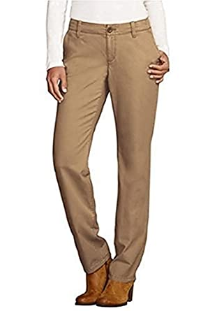 930e6189a Pants Chino Trousers Straight Leg Ladies from Eddie Bauer - Brown - Cognac,  6 (
