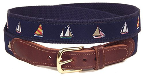Blue Leather Boat (Preston Leather Nautical Sailboats Belt Blue (32))