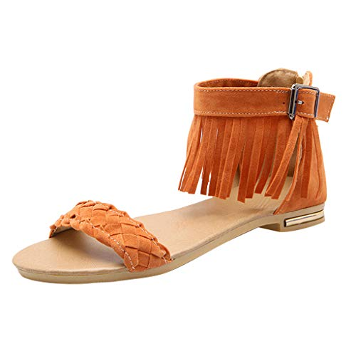 - Benficial Summer Roman Frosted Leather Belt Buckle Suede Flat Sole Sandals Women Shoes Yellow
