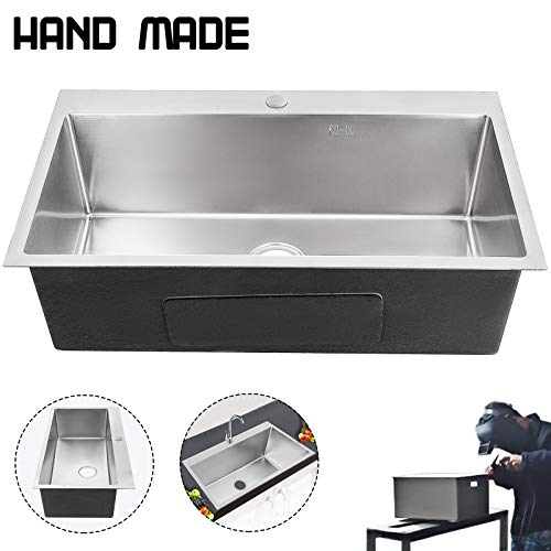 Lowest Prices! VEVOR 32 inch Sink Bowl Stainless Steel Sink Undermount Hand made sink single bowl Sq...