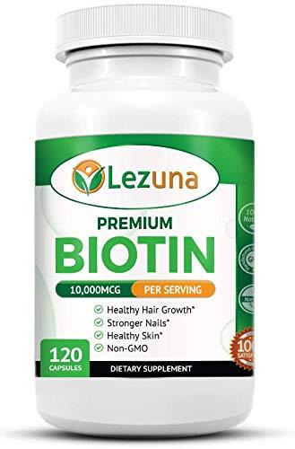 Lezuna Premium Biotin Supplement 10,000 MCG, Vegan Friendly, Non-GMO, All Natural Hair Growth Support, Nail Strength - 120 Capsules