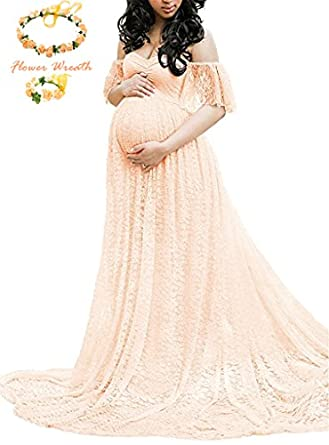 Lace Overlay Maternity Wrap Maxi Dress Photography Props Fancy Gown