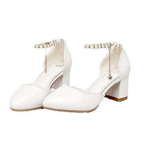 Odomolor heels Soft Women's Buckle Pumps Material shoes Pointed toe Kitten White qqp0rxP