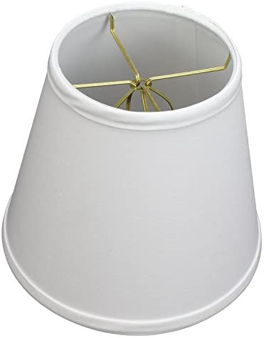 FenchelShades.com 5 Top by 8 Bottom by 7 Slant Height Fabric Barrel Lampshade Double Clip-On Attachment White