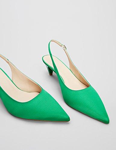 Emerald 025 Verde Talón Zapatos de Abierto Satinado Mujer Find n1A0qwT8n