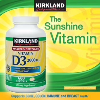 KIRKLAND ビタミンD3 2000 IU  600粒【並行輸入品】 B0092MH5FU