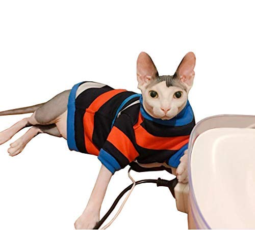 Khemn 丨 Luxury Fabrics - 100% Organic Cotton & Fleece丨HANDMADE丨Blue-Orange Striped Cat Sweater Coat Warm Winter Shirt (L) ()