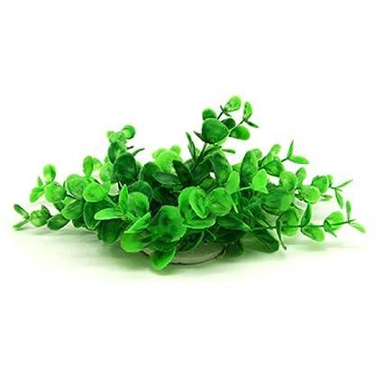 eDealMax Jardin de plástico acuario de peces Hermosa planta del ornamento, Verde