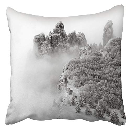 Emvency Decorative Throw Pillow Covers Cases Mist Snowy Mountains Trees Fog Landscape Nature Winter Rock Travel Snow Savage 16x16 inches Pillowcases Case Cover Cushion Two Sided -
