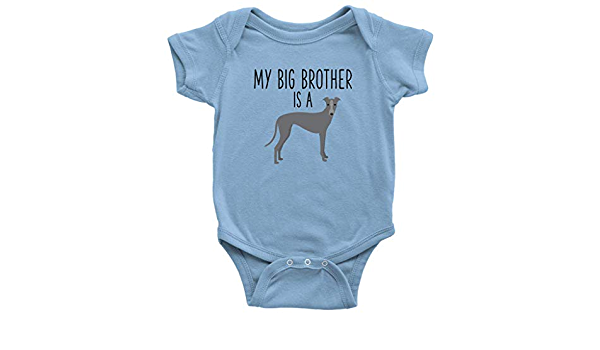 Greyhound Baby Shirt Family Pet Brown and Yellow Long Sleeved Dog Lover Cotton Hand Printed Onepiece Baby Bodysuit Italian Grey Hound