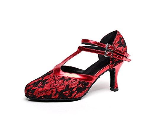 Minitoo Tqj3001 Delle Donne T-strap Pizzo Tango Latino Da Ballo Scarpe Da Ballo Sera Prom Pompe Rosso-7,5 Centimetri Tacco