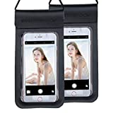 2-Pack Waterproof Case Cell Phone Dry Bag for iPhone X/8/8Plus/7/7plus/6/6s/6s Plus, Samsung Galaxy Note 8/S9/S8, Google Pixel Moto BlackBerry, Watersports Underwater Cellphone Pouch Up to 6.5″