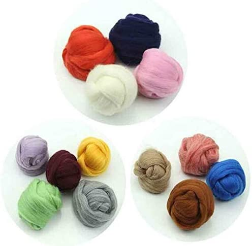 FidgetKute 100g Genuine Wool Top Fibre Roving for Needle Felting Materials Lot Color Option Light Brown 5g