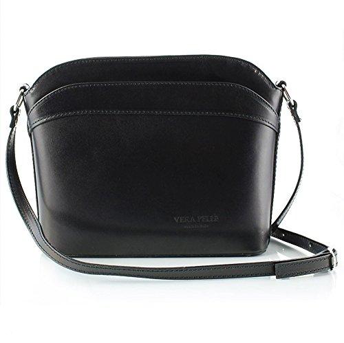 (Ann Tarry Casual Elegance Genuine Leather Rigid Shoulder Crossbody Bag Made in Italy (Black))