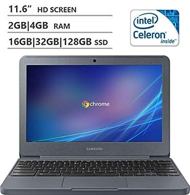 "2019 Premium Samsung 11.6"" HD Display Chromebook3, Intel Celeron N3060, Upgrade RAM to 2GB|4GB, Upgrade Storage to 16GB|32GB eMMC (External 64GB|128GB|256GB), Wifi,Bluetooth,Webcam,HDMI,Night Charcoal"