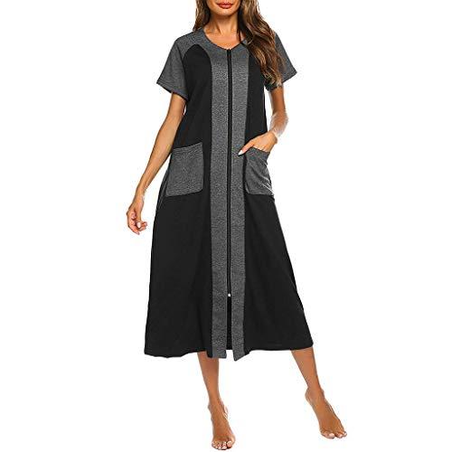 (Peigen Women Zipper Robe Half Sleeve Loungewear Full Length Nightgown Duster Housecoat with Pockets S-XXL)