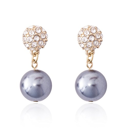 Jane Stone Fashion Dangle Earrings Simulated White Pearl Pave Rhinestone Fireball Drop Earring for Brides(E0650-Grey)