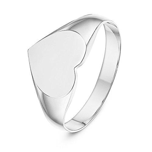 LANDA JEWEL Ladies Sterling Silver Heart Shape Medium Weight Polished Signet Ring 8x11mm (5.5) - Heart Shaped Signet Ring