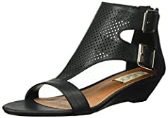 Open-toe wedge sandal with two buckle straps on ankle cuff. Back zipper closure and a lightly padded footbed.