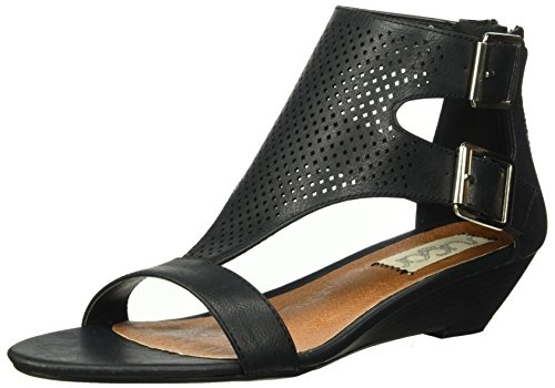 - Sugar Womens' Wigout Demi Wedge T-Bar Open Toe Buckle Sandal, Black Perf, 7 Medium US
