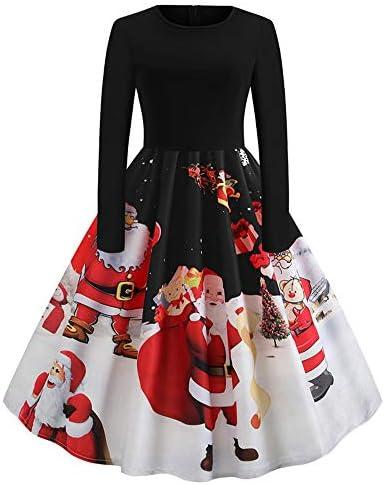 ワンピース クリスマス Plojuxi レディース ドレス スリム Aラインワンピース レース コスチューム クリスマスプリント