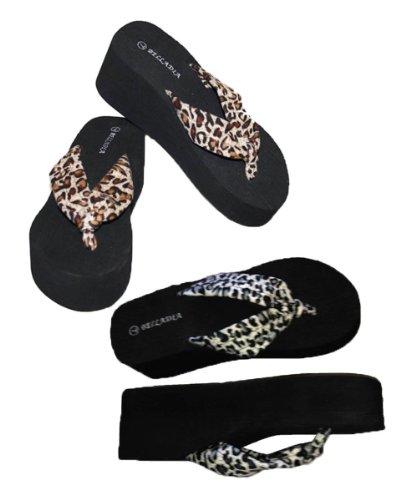 Sandalo Infradito Da Donna Casual Con Plateau E Cinturino Con Stampa Leopardata