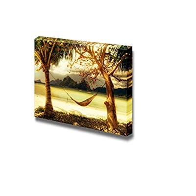 Delightful Picture, Tropical Relax Resort Coast Artistic Toned Picture Wall Decor, Classic Design
