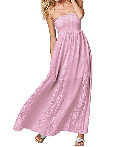 Falda Cuello Vestido Punto ACHIOOWA Playa Elegante Mujer Dress Palabra Suelto Manga Rosa Boda Sin Encaje CAwYFqY