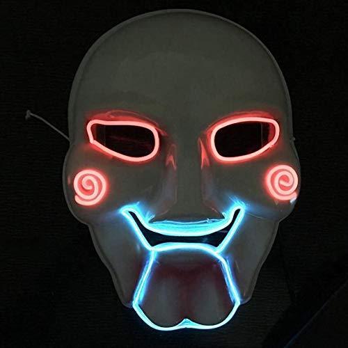 ZJTek Halloween LED Light Mask Saw Jigsaw Scary Killer Theme Mask Party