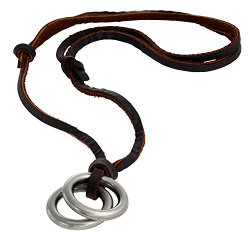 Regetta Jewelry Vintage Surf Style men women unisex Double Ring Pendant with Adjustable Genuine Brown Leather Chain Cord Necklace