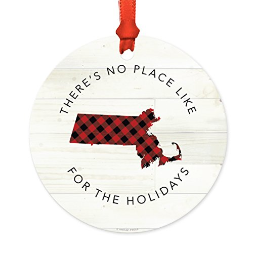 Andaz Press US State Round Metal Christmas Ornament, Lumberjack Buffalo Red Plaid on Light Rustic Wood, Massachusetts, 1-Pack, Includes Ribbon and Gift Bag (Massachusetts Christmas Lights)