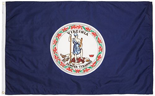 - Valley Forge, Virginia State Flag, Nylon, 3' x 5', 100% Made in USA, Canvas Header, Heavy-Duty Brass Grommets