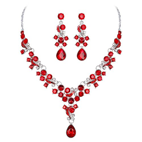 Keliay Alloy Rhinestone Pearl Necklace Earrings pendants Set Wedding Jewelry Gift Best for Gift (Red)