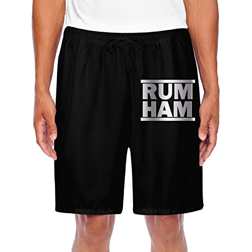 Men's Rum Ham Logo Platinum Style Shorts Sweatpants Black (Jock Hams)
