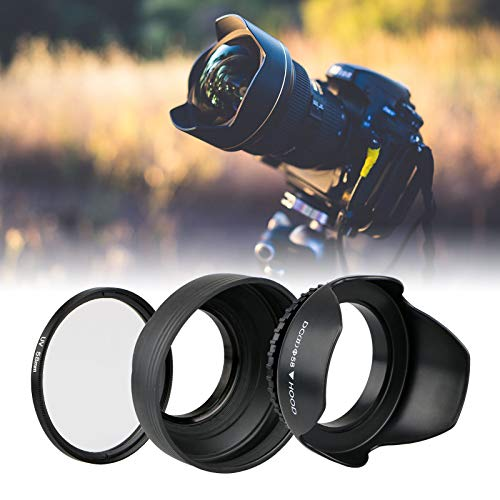 EEEKit 58mm Hard Lens Hood + 58mm Soft Lens Hood + 58mm UV Filter Lens Kit for Canon Rebel T7i T6S T6i T6 T5i T5 T4i T3i T3 T2i T1i XT XTi XSi SL1