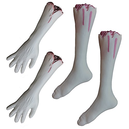 Halloween Large Fake Dead Zombie Bloody Body Parts Bundle - Severed Legs and Arms - Plastic Party Prop Decoration (Set of 4) (Halloween Legs)