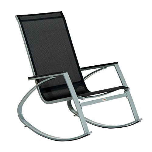Outsunny Outdoor Modern Front Porch Patio Rocking Sling Chair - Black/Silver