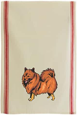 German Spitz Cotton Retro Stripe Dish Kitchen Towel Red Stripe