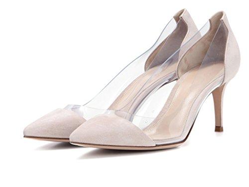 Pumps Shoes Party Domstol Elashe Tå High Court Hæl Gjennomsiktig Cap nude 8cm Elashe Toe Heel Cap Suede Pvc Høy Semsket Fest Nude Sko Pumper Transparent Pvc Kvinner 8cm Women qatgnnw6