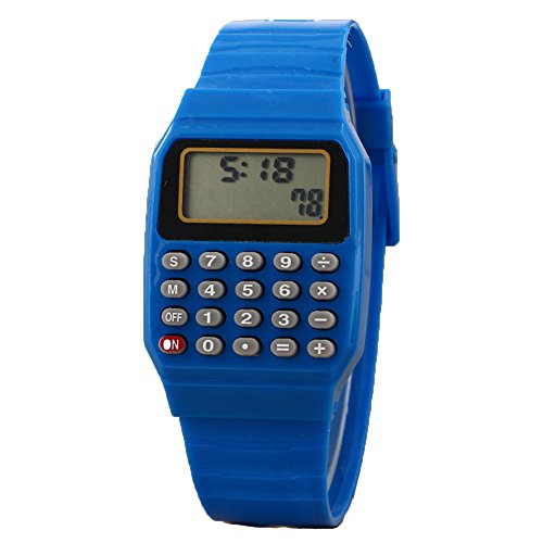 Unisex Calculator Watch Silicone Multi-Purpose Date Time Electronic Wrist Watches Girl Boy Students Wristwatch (Blue)
