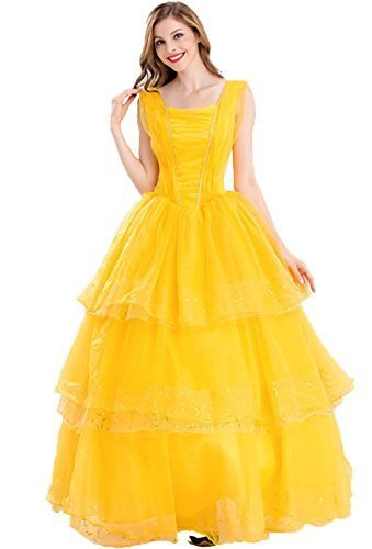 (SANTAT) 2017 years Introducing Disney Beauty and the Beast Belle Costume Ladies (Bella Beauty And The Beast Costume)