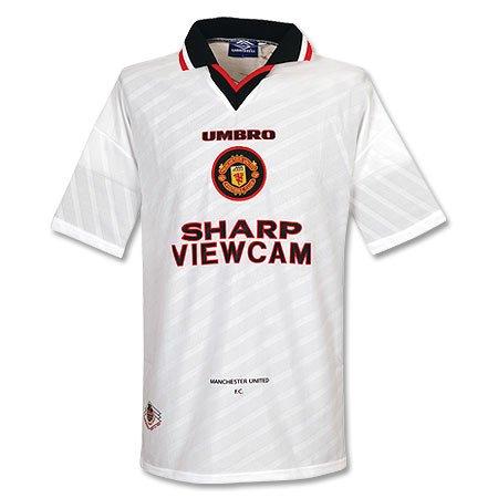 96 - 98 Manchester United Away - Camiseta utilizado Blanco blanco ...