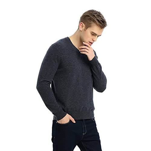 7d175e7fa9ef8 well-wreapped MIUK 2017 New Men s 100% Cashmere Basic Slim Sweater V Neck  Long