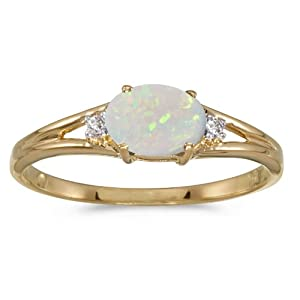 0.21 Carat ctw 14k Gold Oval White Opal & Diamond Accent 3 Three Split Shank Promise Fashion Ring